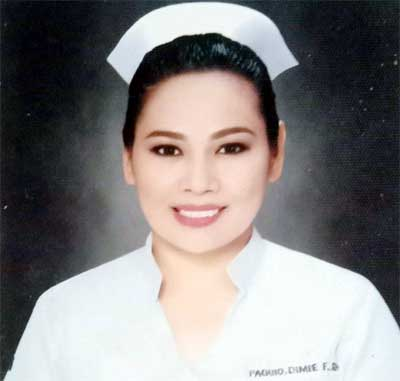 Dimie Feria Paguio bayaning medical frontliner