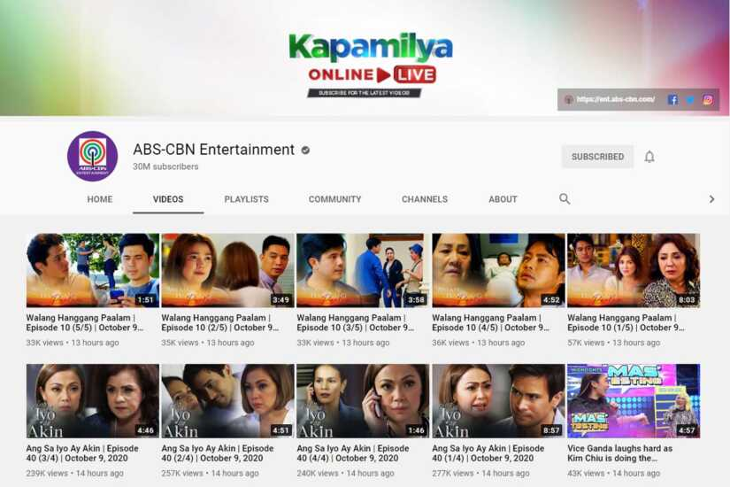 ABS-CBN youtube channel